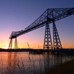 Transporter bridge at night in Middlesbrough